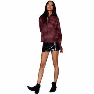 REFORMATION Lou Plaid Long Sleeve Oversize…